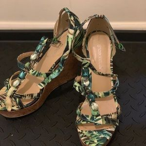 Shoe dazzle Floral and jeweled wedges